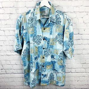 AFTCO Blue Marlin Button Up Short Sleeve Shirt - M